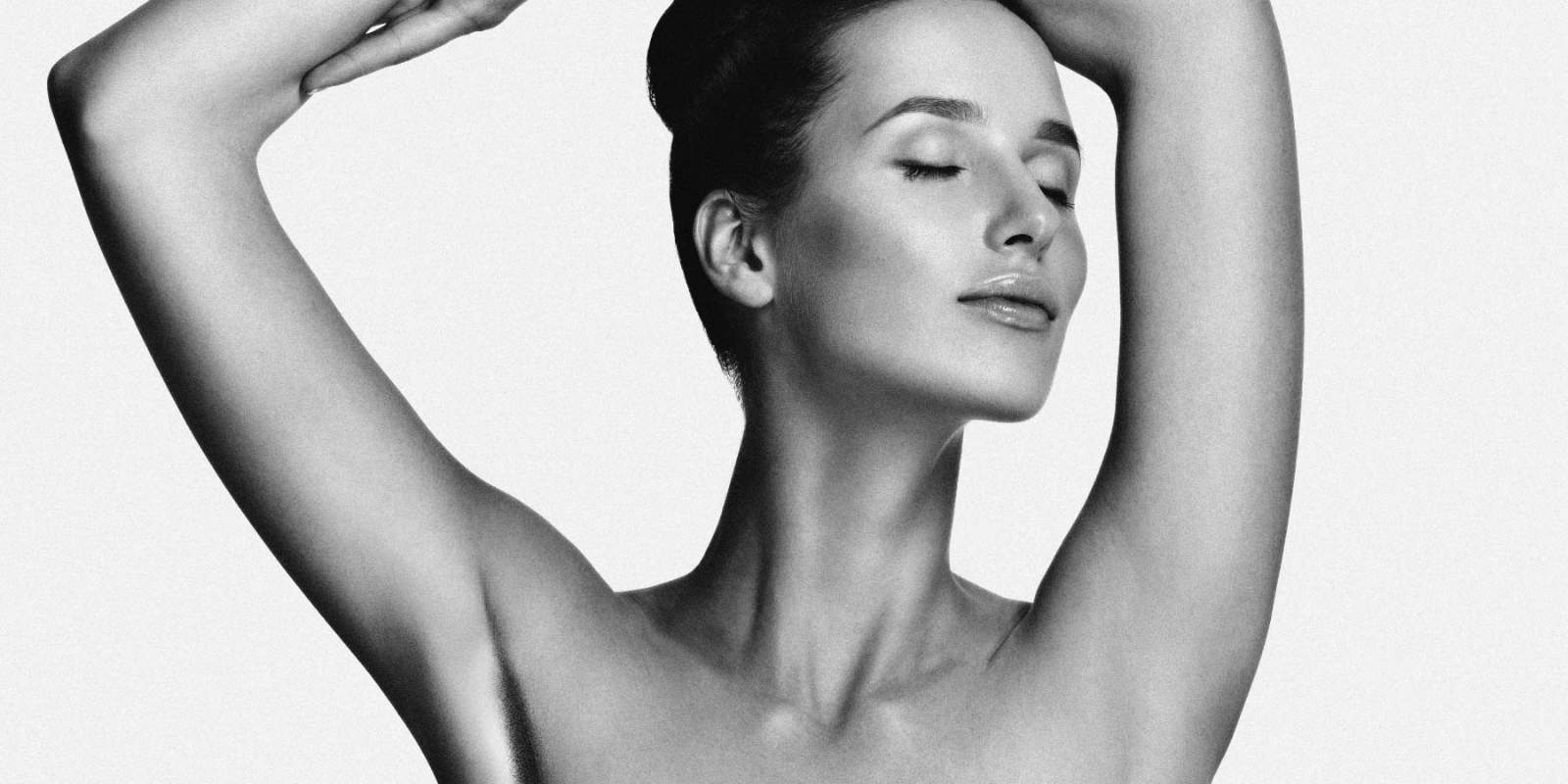 Woman with white underarms